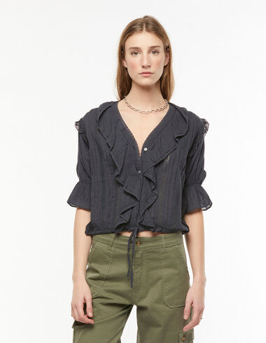 Anthracite lace ruffle shirt - Blouses and Tops - Nícoli