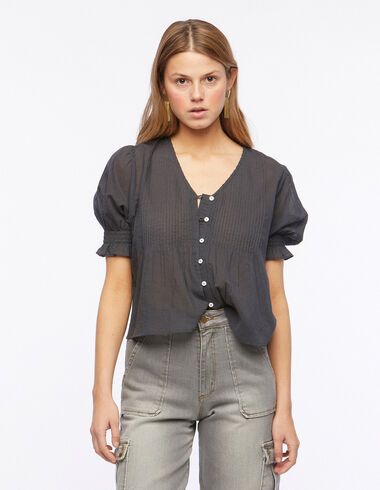 Anthracite V-neck pin-tuck shirt - Blouses and Tops - Nícoli