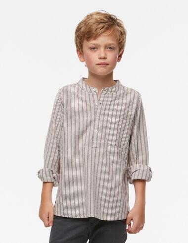 Maroon wide-striped grandad collar shirt - View all > - Nícoli