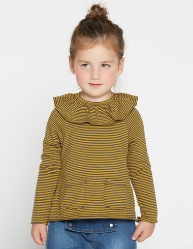 Girl's mustard striped ruffle top - T-Shirts - Nícoli