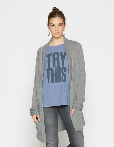 Girl's grey knit collar cardigan - View all > - Nícoli