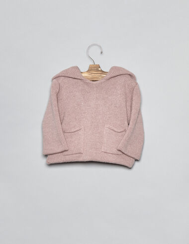 Pink hooded baby cardigan - Cardigans - Nícoli