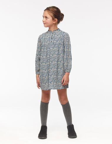 Blue floral grandad collar dress - View all > - Nícoli