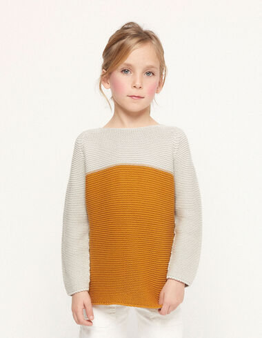 Pull bicolore moutarde - Kids jumpers & Sweatshirts - Nícoli