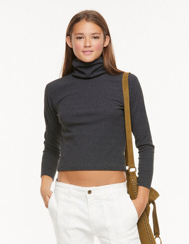 Anthracite turtleneck collar ribbed T-shirt - View all > - Nícoli