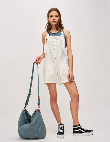 Women's off-white playsuit with buttons - Playsuits & Dungarees - Nícoli