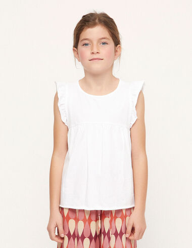 White ruffle shoulder t-shirt - View all > - Nícoli