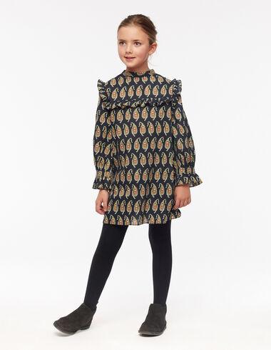 Robe col mao paisley anthracite - The Paisley Print - Nícoli