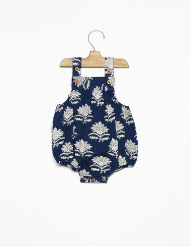 Grenouillère boutons fleur indienne bleue - New Indian Print - Nícoli