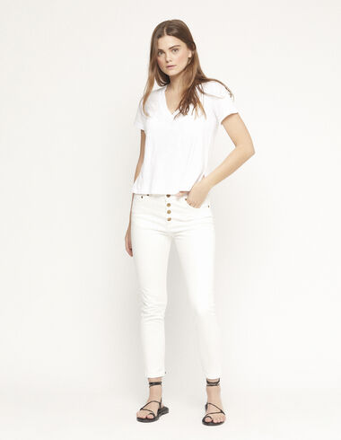 Pantalon slim blanc - Pantalons - Nícoli