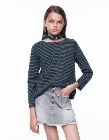 T-shirt manches longues rayure anthracite et bleu clair - Voir tout > - Nícoli