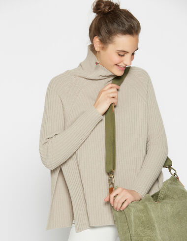 Girl´s pullover with openings turtleneck beige - Pullovers - Nícoli