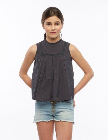 Camisa perkins encajes antracita - Black is Back - Nícoli