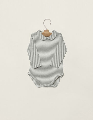 Off-white/grey striped baby bodysuit  - View all > - Nícoli