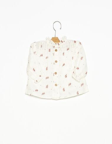 Camisa cuello perkins botones ramitas fresa - Ver todo > - Nícoli