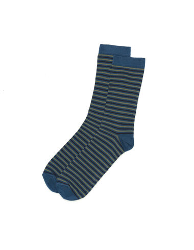 Chaussette rayures petites bleues - All About Socks - Nícoli