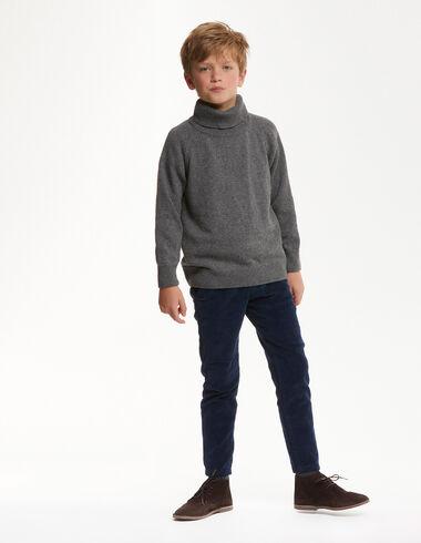 Pantalon chino long velours côtelé bleu - Voir tout > - Nícoli
