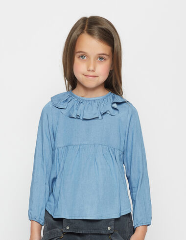 Girl's ruffle denim blouse - Shirts - Nícoli