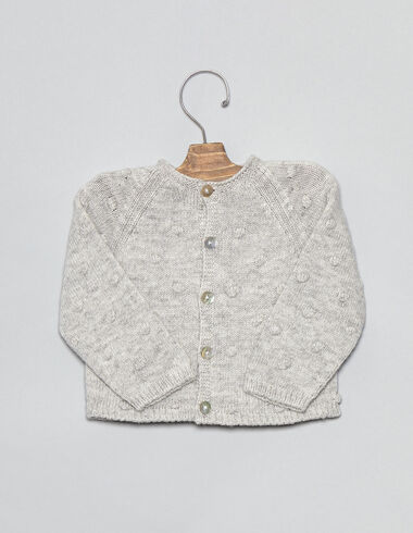 Gray bobble baby cardigan - View all > - Nícoli