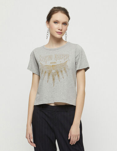 """Grey """"Rock"""" charity t-shirt - Woman Leather Effect - Nícoli"""