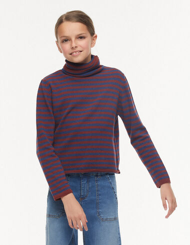 Terracotta striped turtleneck jumper - Jumpers & Sweatshirts - Nícoli