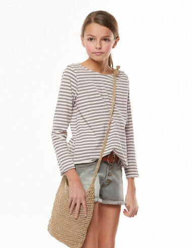 Long-sleeved pink and anthracite striped t-shirt - View all > - Nícoli