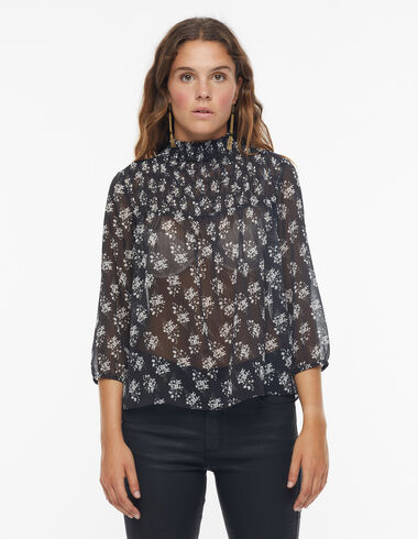 Anthracite shirred collar blouse with ecru flower detail - View all > - Nícoli