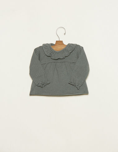 Green and anthracite small-striped ruffle neck baby T-shirt - T-Shirts - Nícoli
