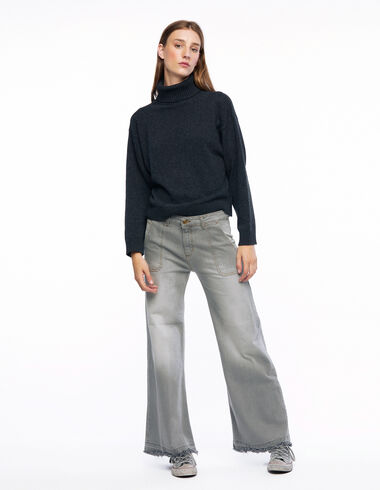 Grey wide leg trousers with pockets - Denim - Nícoli