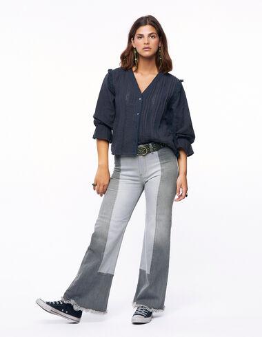 Pantalón ancho pespuntes gris - Denim - Nícoli