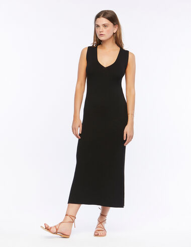 Robe col V côtelée noire - The B&W Dress - Nícoli