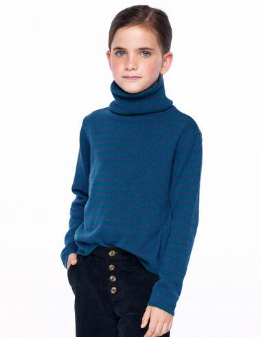 Jersey cuello vuelto rayas verde y azul - Autumn Uniform - Nícoli