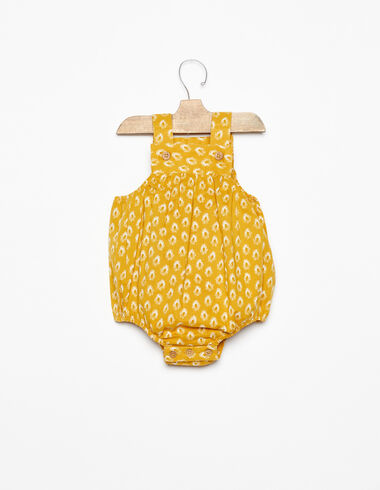 Mustard leaf print buttoned playsuit - View all > - Nícoli