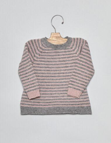 Pull rayé gris foncé/rose pour bébés - Pulls - Nícoli
