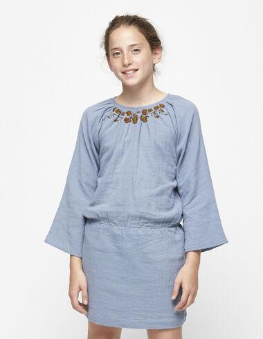 Blue embroidered drop waist dress - Dresses - Nícoli