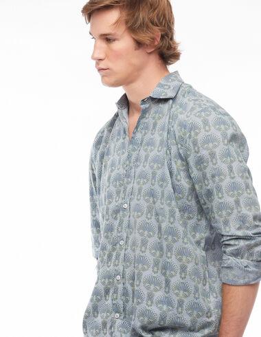 Blue herringbone V-neck shirt - View all > - Nícoli