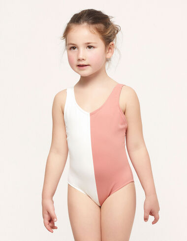 Ecru/pink two-tone swimsuit - Teen outfits - Nícoli