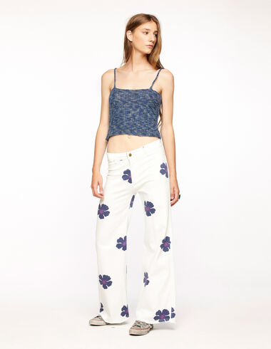 Pantalon wide leg imprimé fleurs bleu - Blue Knit Clothes - Nícoli