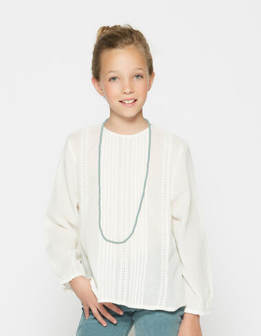 Girl's lace blouse with pintucks - View all > - Nícoli