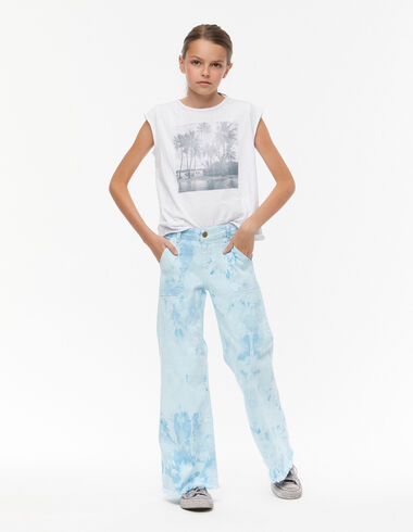 Blue tie dye wide leg trousers with pockets - Denim guide - Nícoli