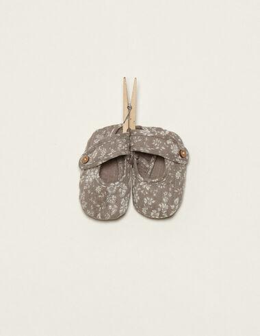 Chaussures taupe à fleurs - Chaussures - Nícoli