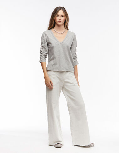 Ecru corduroy baggy trousers with pockets - Trousers - Nícoli