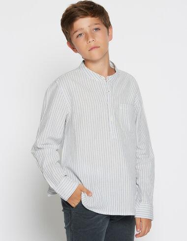 Chemise col mao rayée bleue pour petits garçons - Chemises - Nícoli