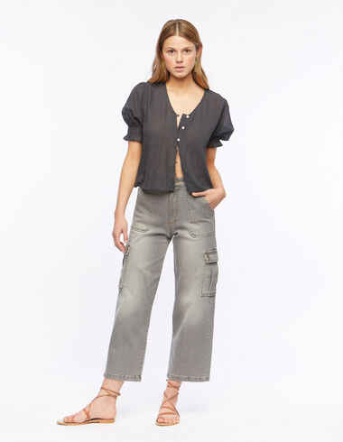 Grey denim cargo trousers - Trousers - Nícoli