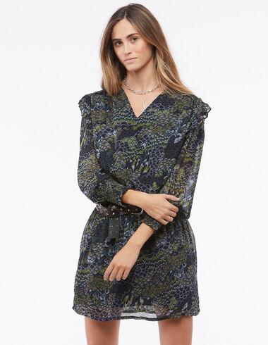 Vestido escote pico gomita print antracita y verde - Vestidos - Nícoli