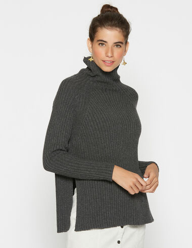 Girl´s pullover with openings turtleneck charcoal - Pullovers - Nícoli