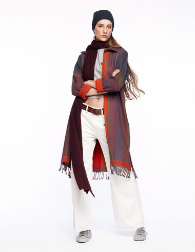 Long orange contrast striped coat - View all > - Nícoli
