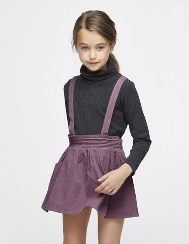 Berry corduroy skirt with straps - Skirts - Nícoli