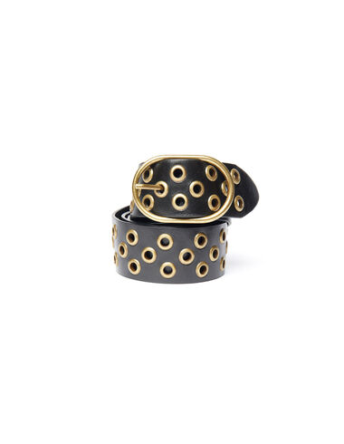 Black leather belt with gold studs - View all > - Nícoli