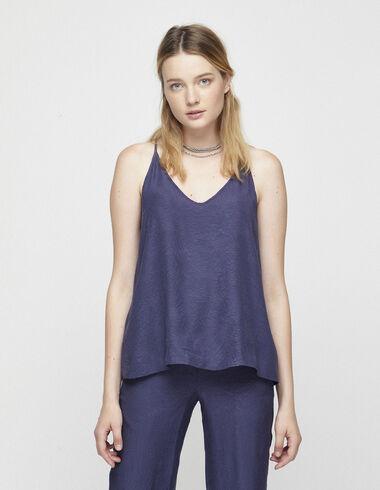 Top jacquard bleu à bretelles - Chemises et Tops - Nícoli